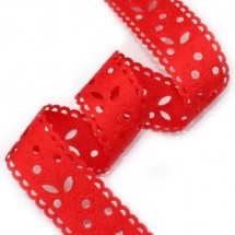 빨강/꽃무늬 펀치(초음파리본)