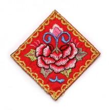 빨강/금사 물결테두리 사각 꽃(자수와펜)