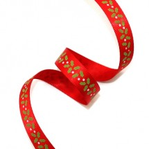 빨강공단/성탄잎사귀(크리스마스리본)