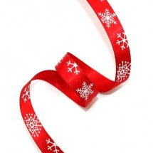 빨강공단/흰색눈꽃(크리스마스리본)