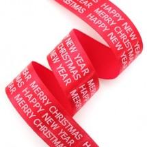 빨강색공단/흰색영문 고딕체(크리스마스리본)