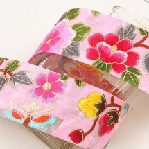 핑크/금박매화꽃(원단리본)