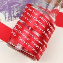 빨강색공단/흰색영문 명조체(크리스마스리본)