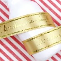 금색공단/금사 츄리로고(크리스마스리본)