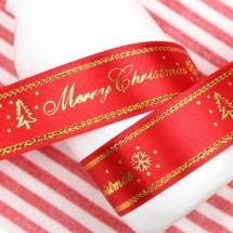 빨강색공단/금사 츄리로고(크리스마스리본)