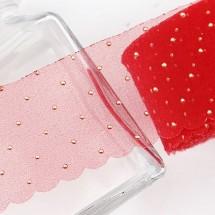 빨강/땡땡이 라운드열처리 망사(원단리본)