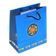 <中>파랑/꽃자수원형 전통(쇼핑백)