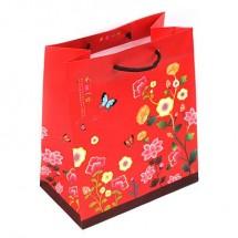 (中)빨강/꽃자수배경 전통(쇼핑백)