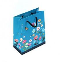(小)파랑/꽃자수배경 전통(쇼핑백)