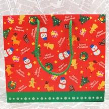빨강/패턴크리스마스 쇼핑백