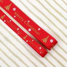 빨강색/골드영문트리리본(크리스마스리본)