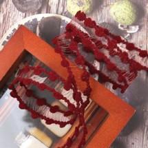 빨강색/땡땡이 그물망사(원단리본)