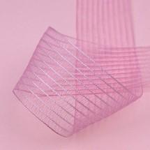 핑크색/줄무늬망사(원단리본)