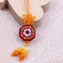 오렌지색/자수꽃팔각형(매듭장식)