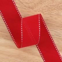 빨강색/흰색 매쉬오간디스티치