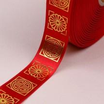 빨강색/금색 사각전통문양(공단프린트)