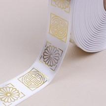 흰색/금색 사각전통문양(공단프린트)