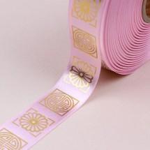 핑크색/금색사각전통문양(공단프린트)