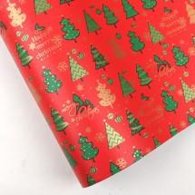 빨강색/크리스마스트리숲(롤포장지)