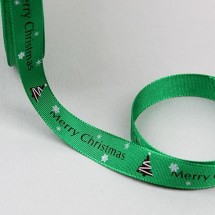 초록리본/평직영문눈꽃트리(크리스마스리본)