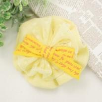 노랑/영문리본 원형꽃(원단장식)