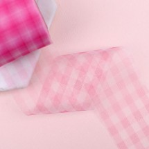 핑크색/체크망사(원단리본)