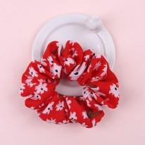 다홍색/흰꽃 스크런치곱창머리끈(완제품)