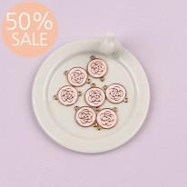 [50%할인]양쪽고리 핑크장미 펜던트(금속장식)