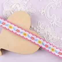 핑크&백아이보리/플라워자수피콧(자카드)