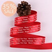 [35%할인]빨강색공단/흰색영문 명조체(크리스마스리본)