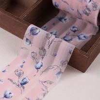 핑크색/봄튤립쉬폰(원단리본)
